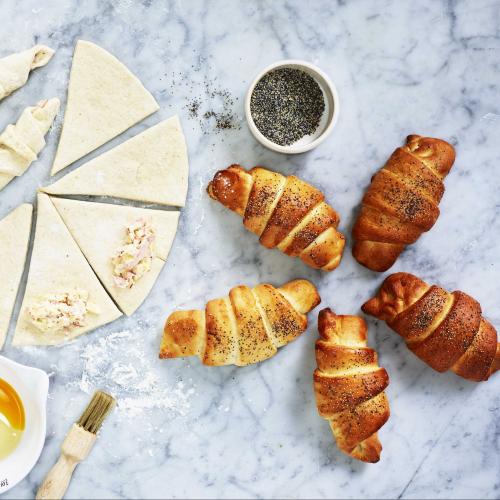 Frukostgifflar med skinka och ost